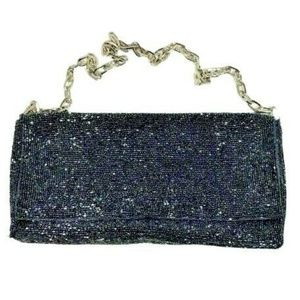Christiana Beaded Purse Pocketbook Bag Dark Gray